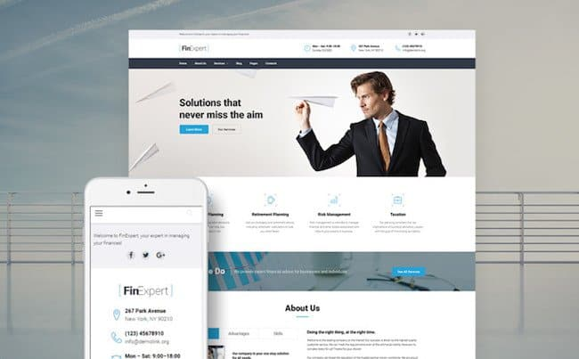 FinExpert - Financial Advisory Company Responsive WordPress Theme
