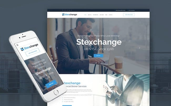 Stexchange - Financial Broker Services Responsive WordPress Theme